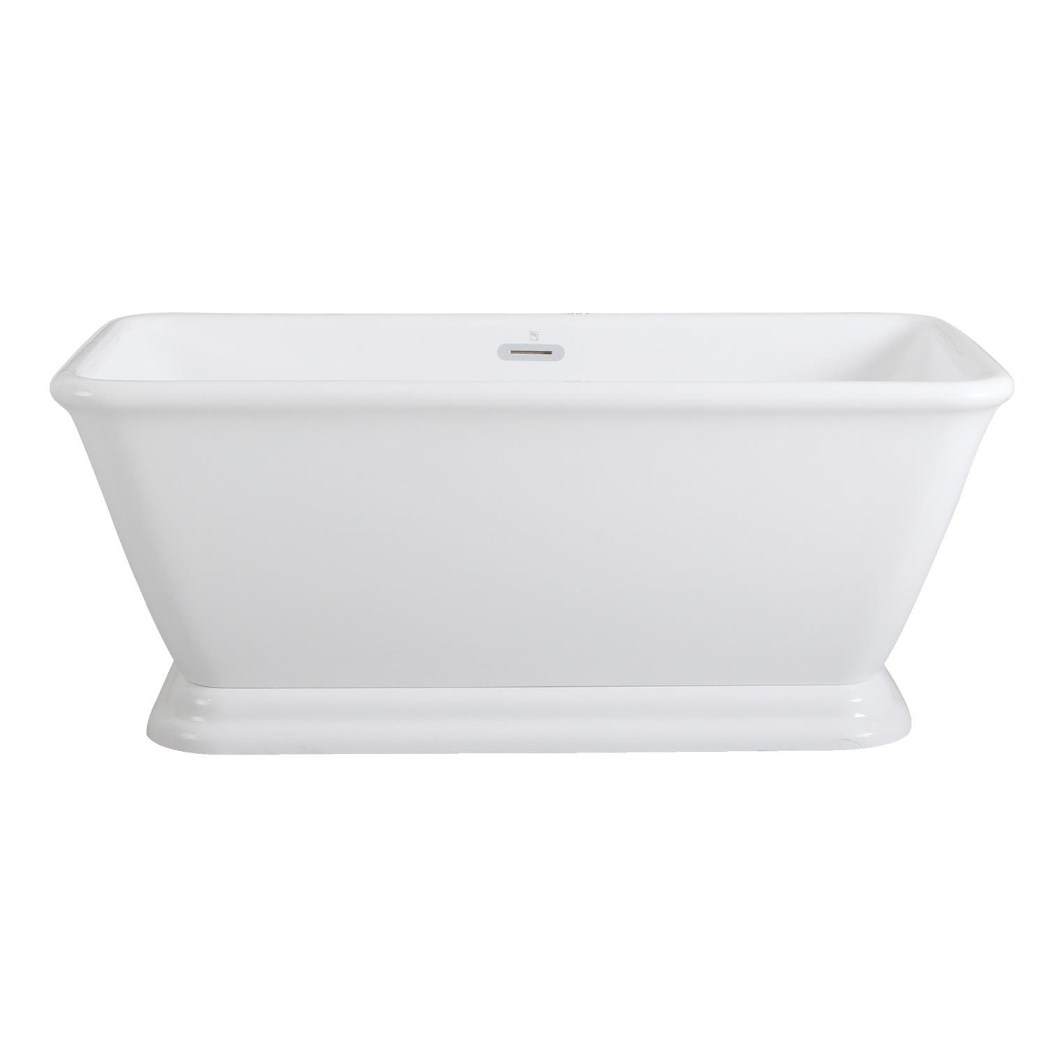 Aqua Eden VTSQ602824 60-Inch Acrylic Double Ended Pedestal Tub with Square Overflow and Pop-Up Drain, White