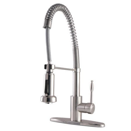 Gourmetier GSY8888NKL Nustudio Single-Handle Pre-Rinse Spring Spout Kitchen Faucet, Brushed Nickel