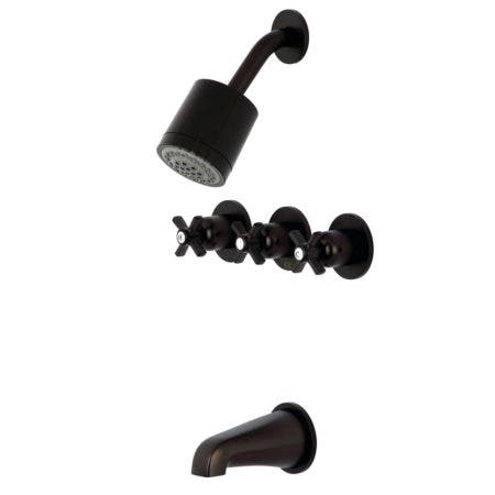 Kingston Brass KBX8135ZX Millennium Three-Handle Tub and Shower Faucet, Oil Rubbed Bronze
