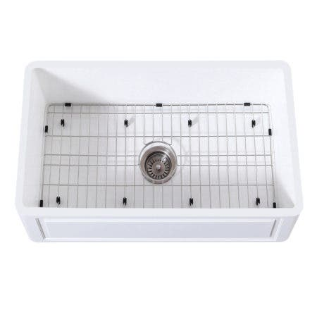 Gourmetier KGKFA301810LD Farmhouse Single Bowl Kitchen Sink with Strainer & Grid