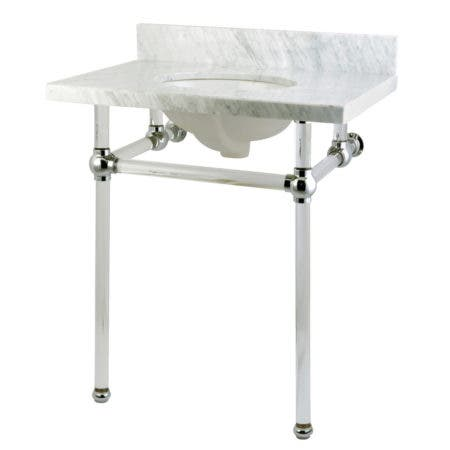 Fauceture KVPB30MA1 Templeton Carrara Marble Bathroom Console Vanity with Acrylic Pedestal, Polished Chrome