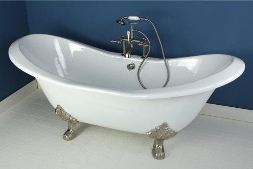 VCT7D7231NC8 72-Inch Cast Iron Double Slipper Clawfoot Tub with 7-Inch Faucet Drillings and Feet, White/Brushed Nickel