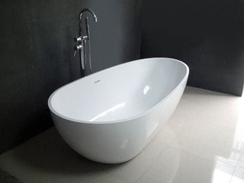 VRTRS593021 59-Inch Solid Surface White Stone Freestanding Tub with Drain, Matte White