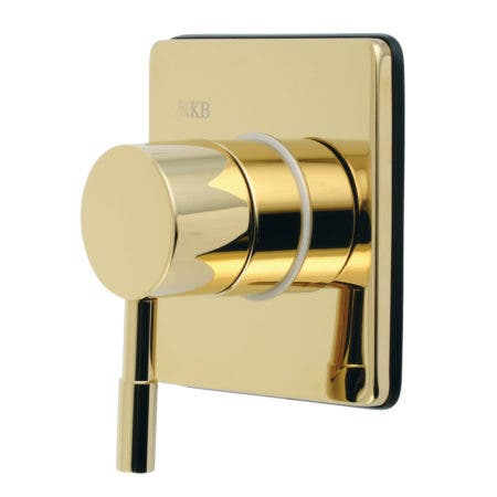 Kingston Brass KS3042DL Concord Single-Handle Three-Way Diverter Valve with Trim Kit, Polished Brass