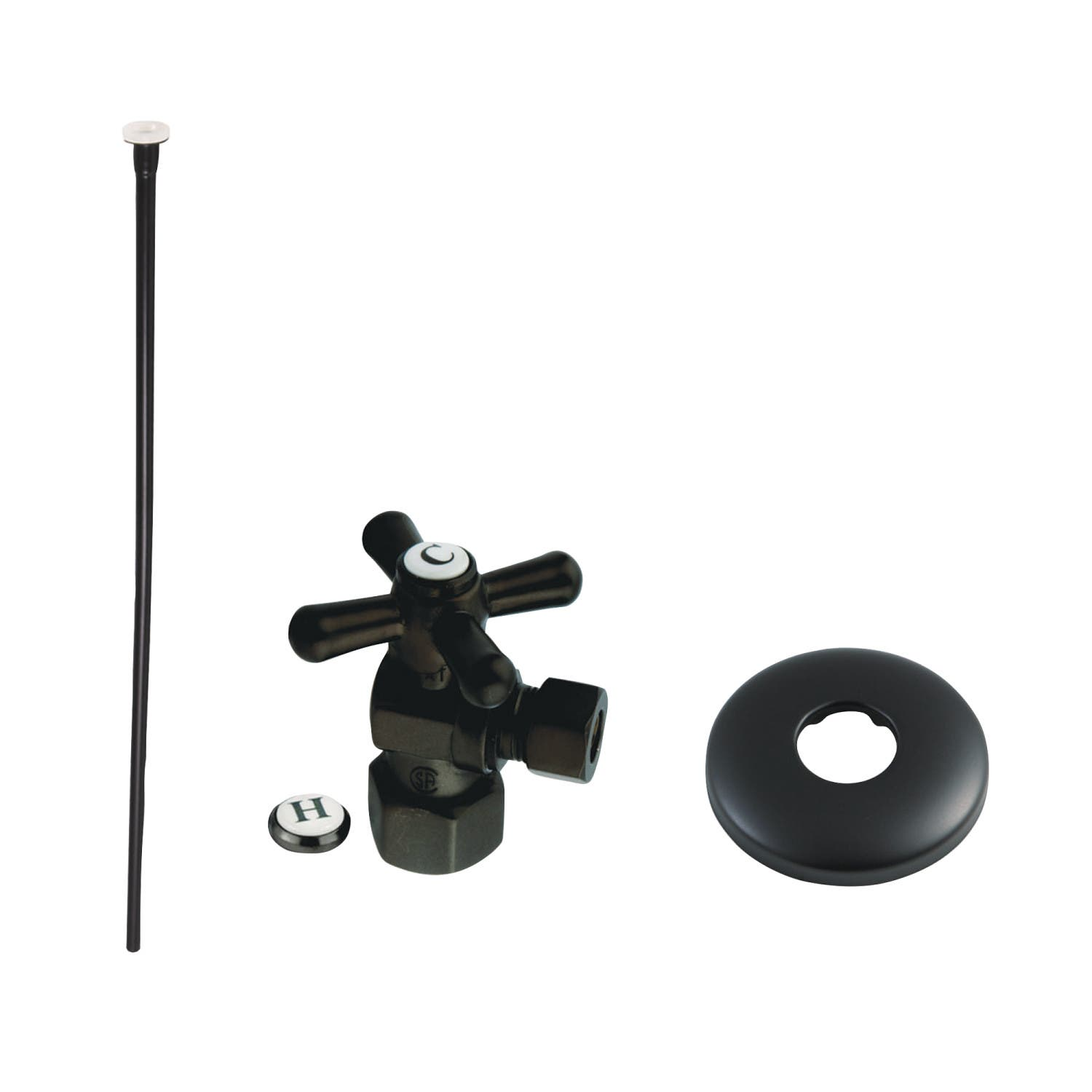 Kingston Brass KTK100MBP Trimscape Toilet Supply Kit Combo 1/2-Inch IPS X 3/8-Inch Comp Outlet, Matte Black