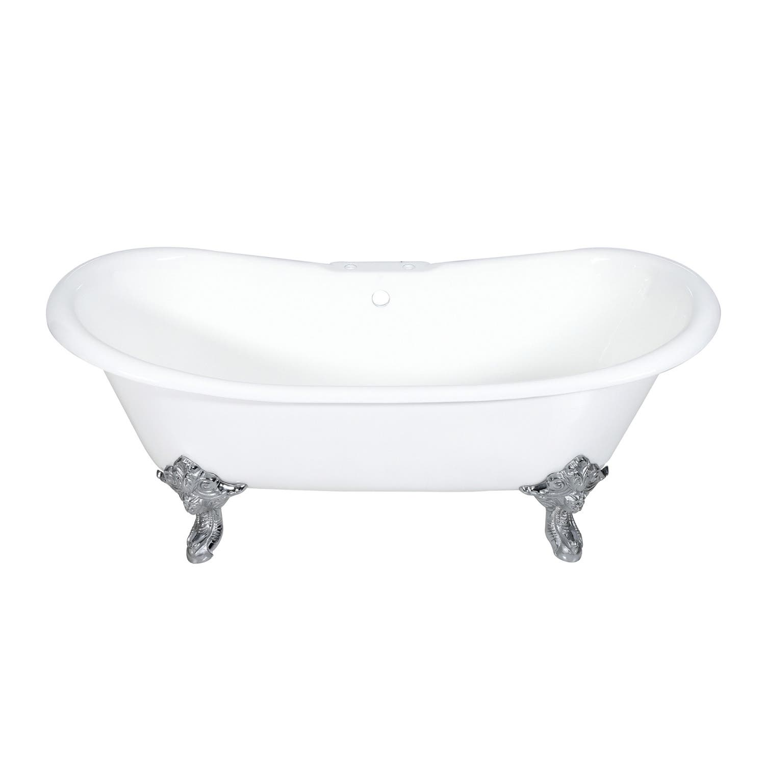 Aqua Eden VCT7DS7231NL1 72-Inch Cast Iron Double Slipper Clawfoot Tub with 7-Inch Faucet Drillings, White/Polished Chrome