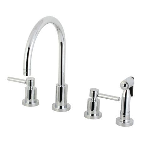 Kingston Brass KS8721DLBS Concord 8-Inch Widespread Kitchen Faucet with Brass Sprayer, Polished Chrome