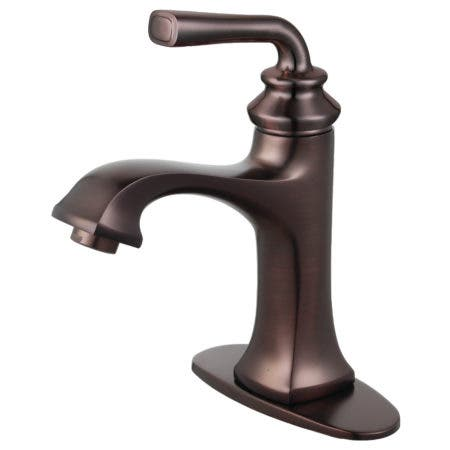 Fauceture LS4425RXL Restoration Single-Handle Bathroom Faucet with Push-Up Drain and Deck Plate, Oil Rubbed Bronze