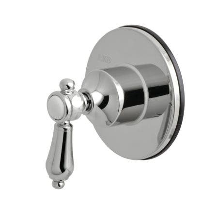 Kingston Brass KS3031BAL Three-Way Diverter Valve with Single Handle and Round Plate, Polished Chrome