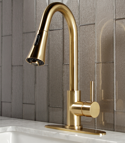 Gourmetier Concord Single-Handle Pull-Down Kitchen Faucet, Brushed Brass