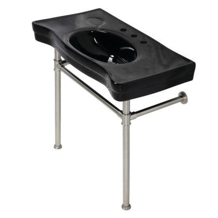 Kingston Brass VPB136K8ST Imperial Console Sink Basin with Stainless Steel Legs, Black/Brushed Nickel