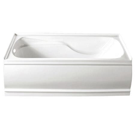 Aqua Eden 60-Inch Acrylic Alcove Tub with Left Hand Drain and Overflow Hole, White