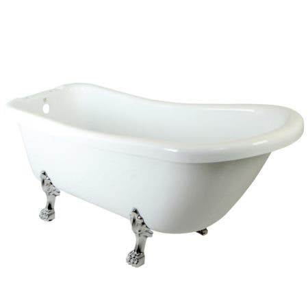Aqua Eden 67-Inch Acrylic Slipper Clawfoot Tub with 7-Inch Faucet Drillings and Feet, White/Polished Chrome