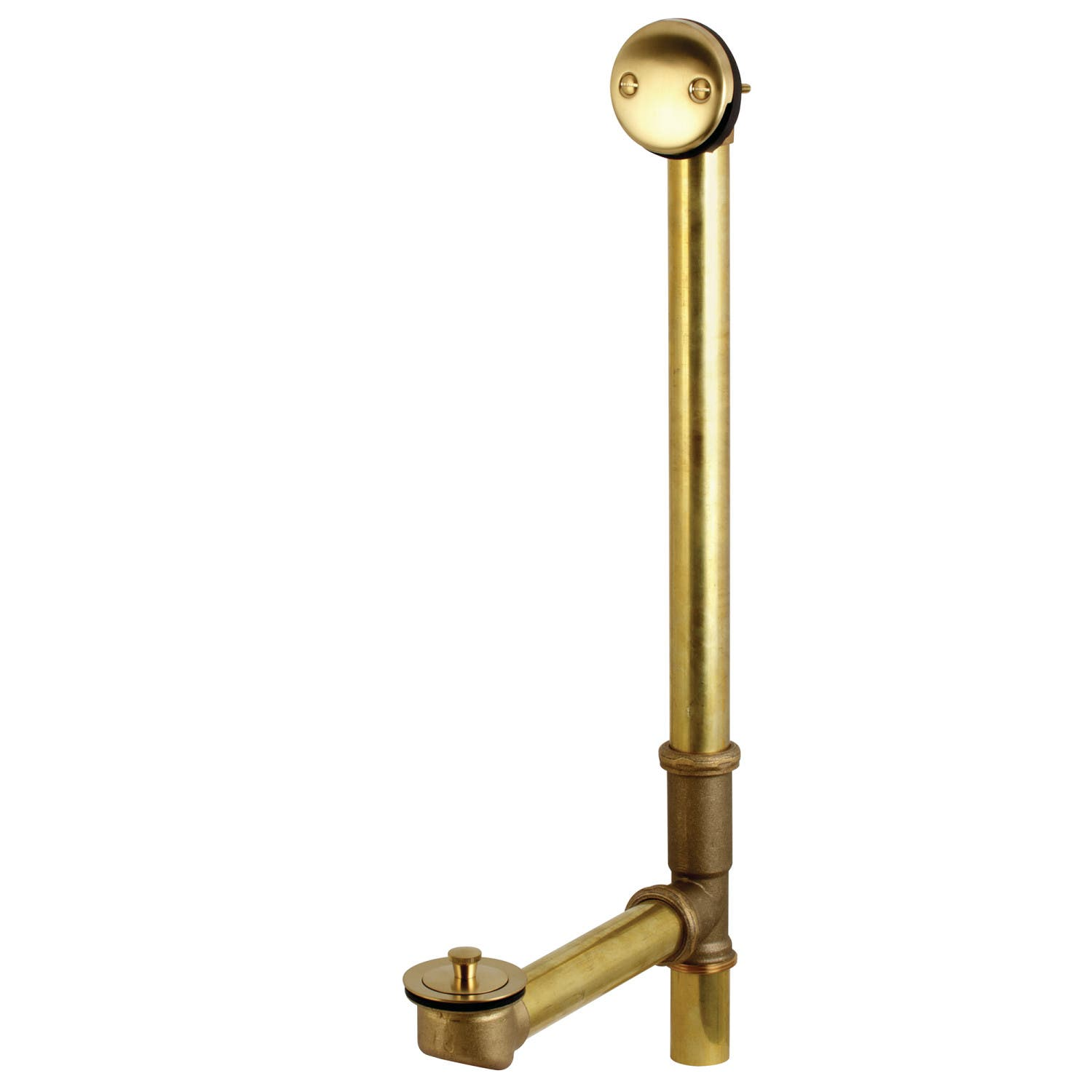 """Kingston Brass DLL3187 18"""" Tub Waste and Overflow with Lift & Lock Drain, 20 Gauge, Brushed Brass"""