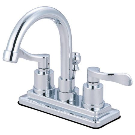 Kingston Brass KS8661DFL NuWave 4 in. Centerset Bathroom Faucet with Brass Pop-Up, Polished Chrome