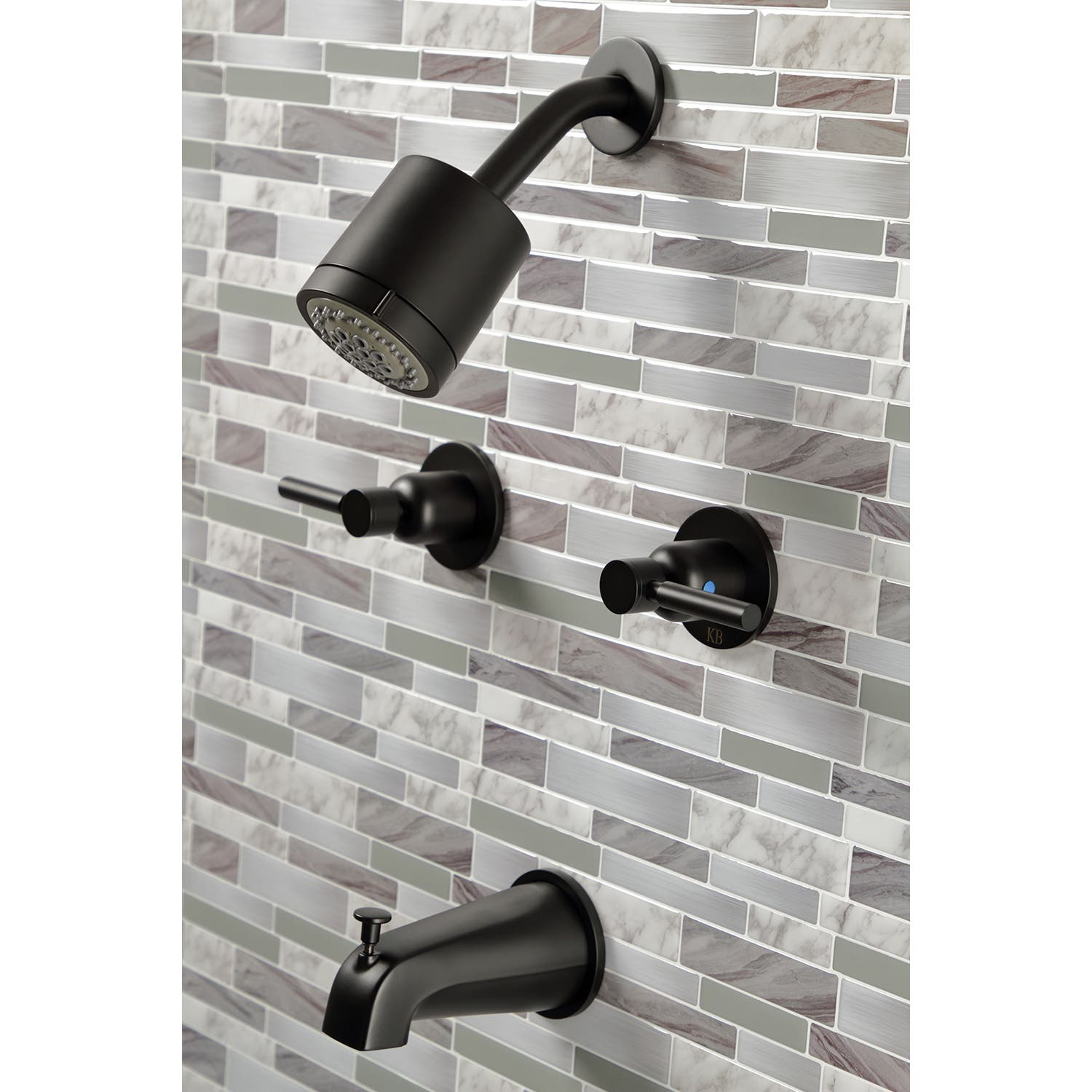 Kingston Brass Kbx8140dl Concord Tub Shower Faucet With 2 Handles Matte Black
