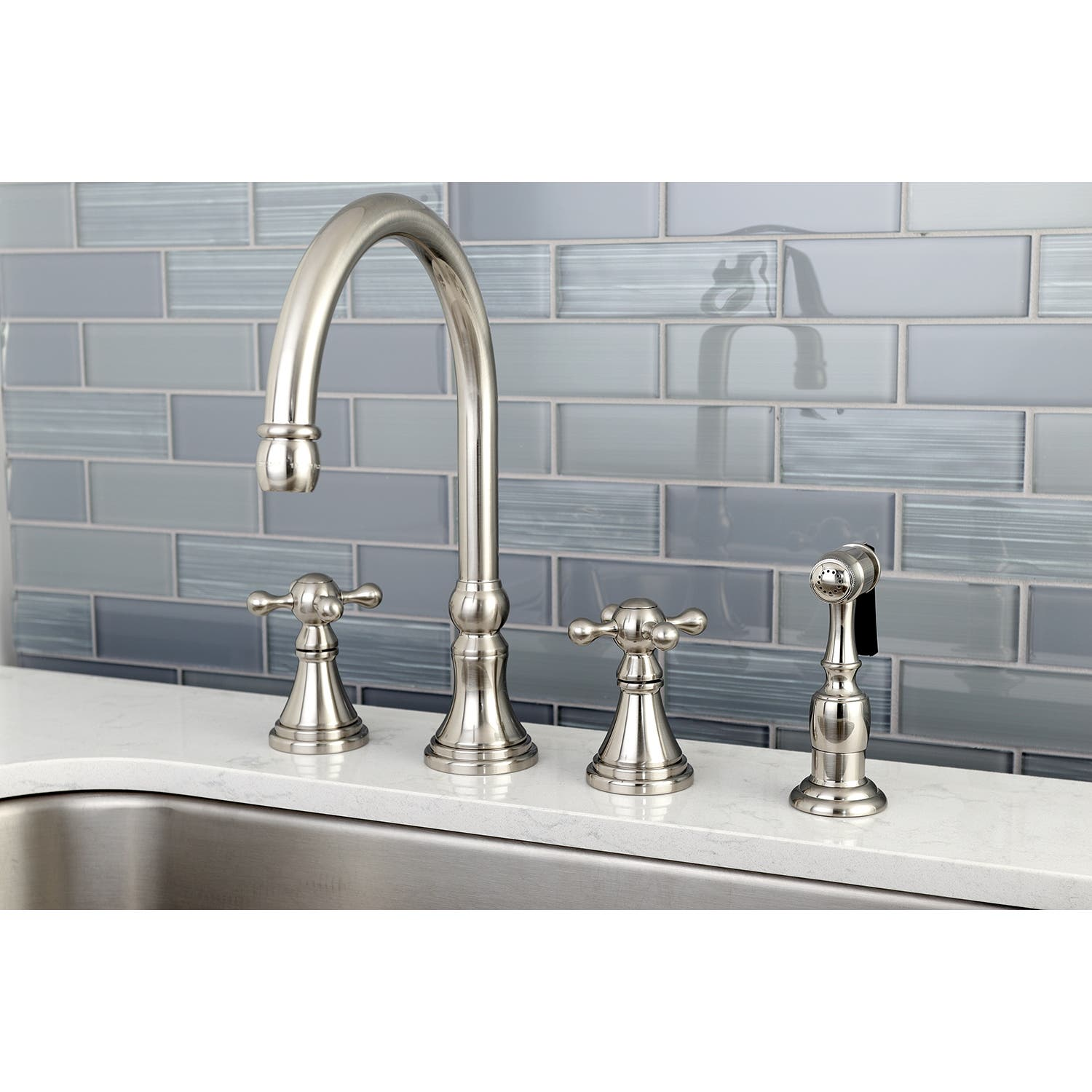 Kingston Brass KS8641ML Milano 4-Inch Centerset Lavatory Faucet with Brass Pop-Up Polished Chrome