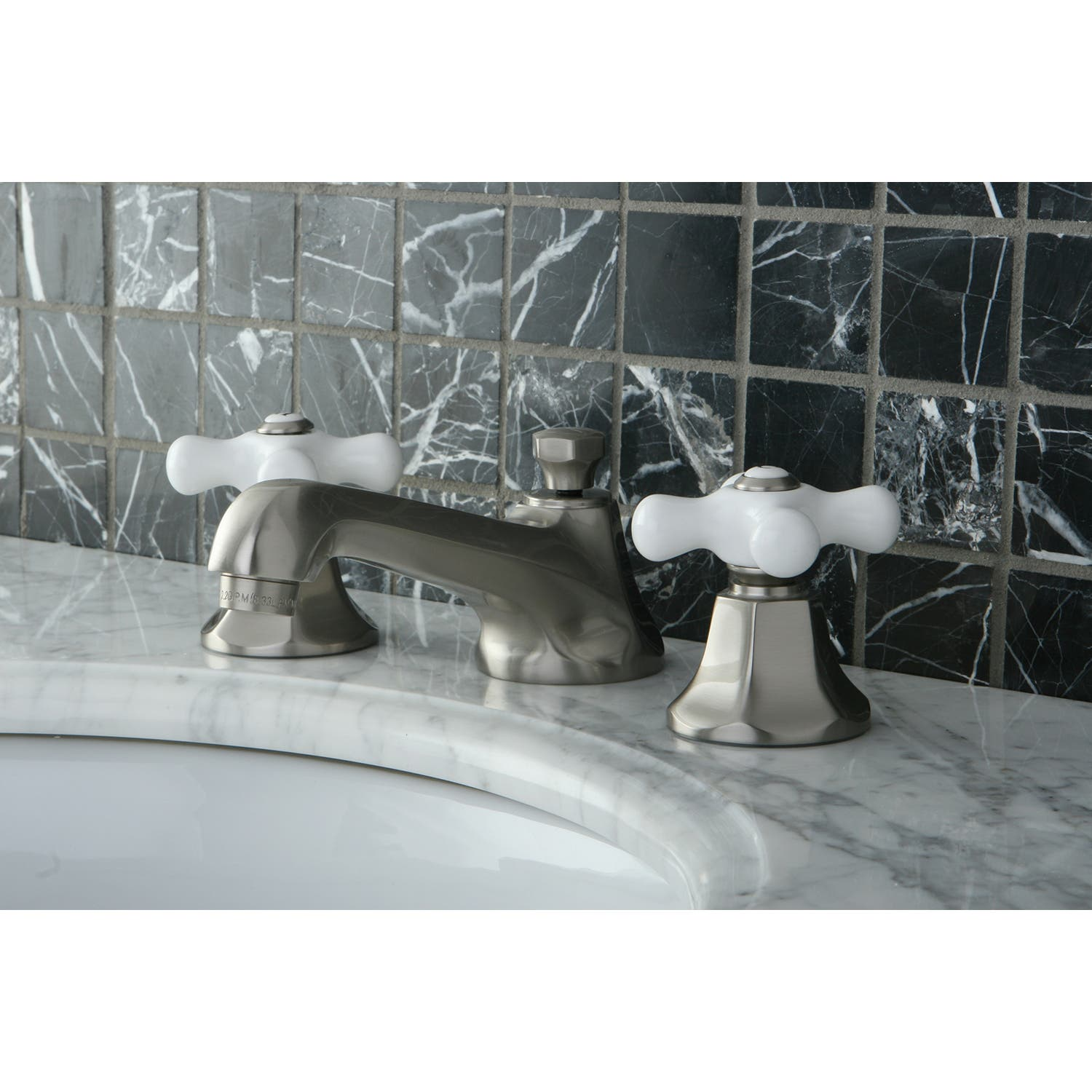 Satin Nickel Kingston Brass KS4468PX Metropolitan Widespread Lavatory Faucet with Porcelain Cross Handle
