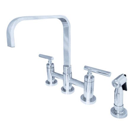 Kingston Brass KS8251CMLBS Manhattan 2-Handle Kitchen Faucet with Brass Side Sprayer, Polished Chrome