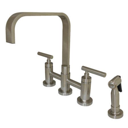 Kingston Brass KS8258CMLBS Manhattan 2-Handle Kitchen Faucet with Brass Side Sprayer, Brushed Nickel