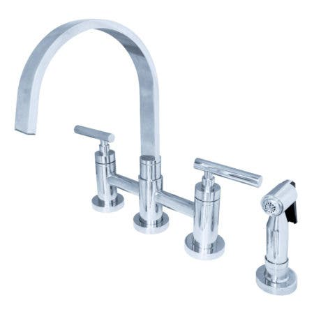 Kingston Brass KS8261CMLBS Manhattan 2-Handle Kitchen Faucet with Brass Side Sprayer, Polished Chrome