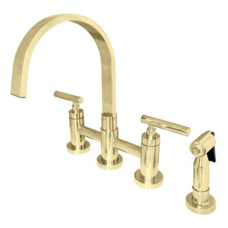 Kingston Brass KS8262CMLBS Manhattan 2-Handle Kitchen Faucet with Brass Side Sprayer, Polished Brass