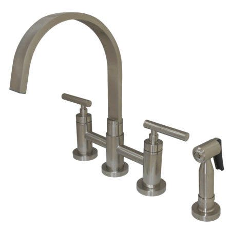 Kingston Brass KS8268CMLBS Manhattan 2-Handle Kitchen Faucet with Brass Side Sprayer, Brushed Nickel