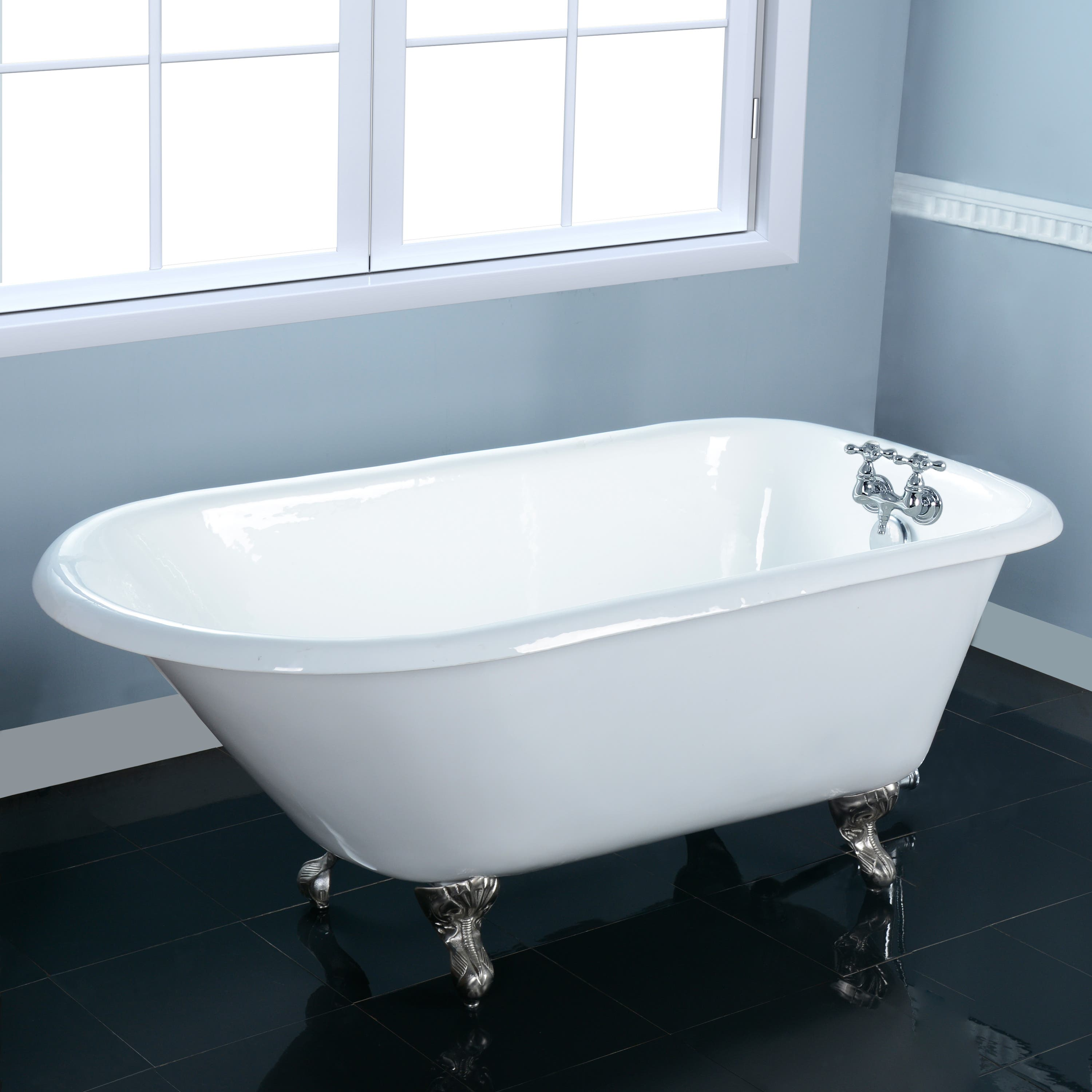 Aqua Eden Vct3d603019nt8 60 Inch Cast Iron Roll Top Clawfoot Tub With 3 3 8 Inch Wall Drillings White Brushed Nickel