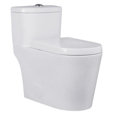Kingston Brass VTC2993 Courtyard One-Piece Siphonic 1.28 GPF Single Flush Elongated Toilet, White
