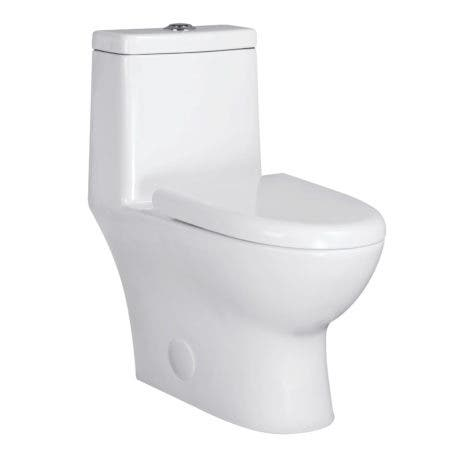 Kingston Brass VTC2994 Courtyard One-Piece Siphonic 1.28 GPF Single Flush Elongated Toilet, White