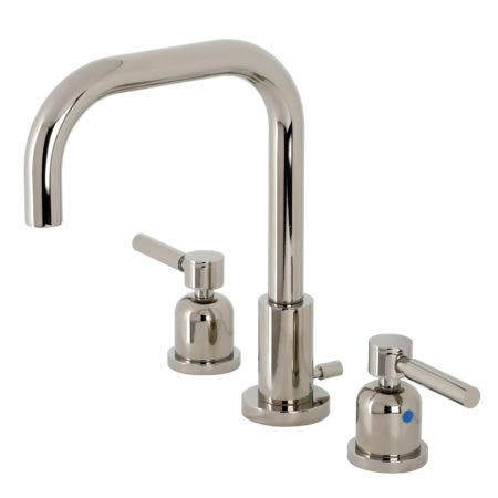 Kingston Brass FSC8939DL Concord Widespread Bathroom Faucet with Brass Pop-Up, Polished Nickel