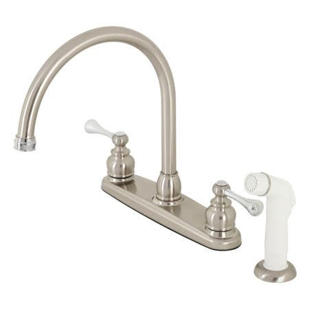 Kingston Brass KB727BL 8-Inch Centerset Kitchen Faucet, Brushed Nickel/Polished Chrome