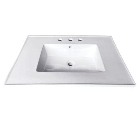 Fauceture LBT25227W34 Continental 25-Inch X 22-Inch Ceramic Vanity Top with Integrated Basin 3H, White