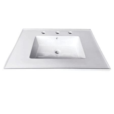 Fauceture LBT25227W38 Continental 25-Inch X 22-Inch Ceramic Vanity Top with Integrated Basin 3H, White