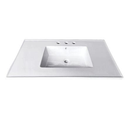 Fauceture LBT31227W34 Continental 31-Inch X 22-Inch Ceramic Vanity Top with Integrated Basin 3H, White