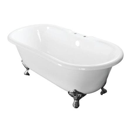 Aqua Eden VCT7D603017NB1 60-Inch Cast Iron Double Ended Clawfoot Tub with 7-Inch Faucet Drillings, White/Polished Chrome