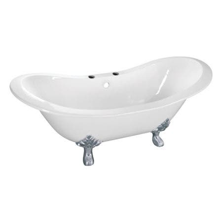Aqua Eden VCT7DS6130NC1 61-Inch Cast Iron Double Slipper Clawfoot Tub with 7-Inch Faucet Drillings, White/Polished Chrome