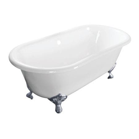 Aqua Eden VCTND603017NB1 60-Inch Cast Iron Double Ended Clawfoot Tub (No Faucet Drillings), White/Polished Chrome