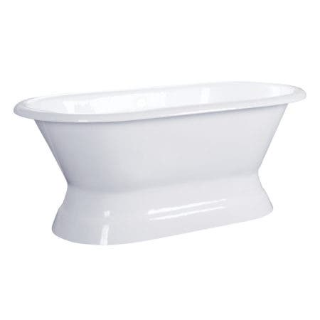 Aqua Eden VCTND603024 60-Inch Cast Iron Double Ended Pedestal Tub (No Faucet Drillings), White