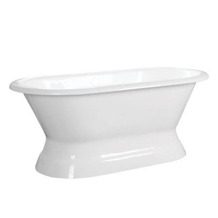 Aqua Eden VCTND663024 66-Inch Cast Iron Double Ended Pedestal Tub (No Faucet Drillings), White