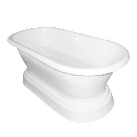 Aqua Eden VCTND663025 66-Inch Cast Iron Double Ended Pedestal Tub (No Faucet Drillings), White