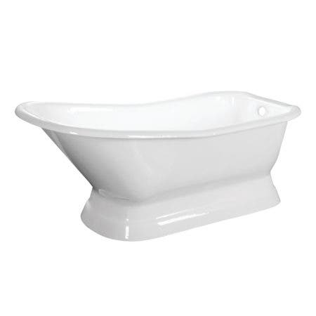 Aqua Eden VCTND663028 66-Inch Cast Iron Single Slipper Pedestal Tub (No Faucet Drillings), White
