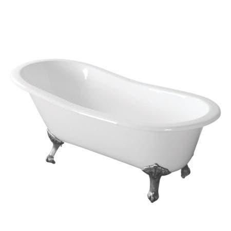 Aqua Eden VCTND673122ZB1 67-Inch Cast Iron Single Slipper Clawfoot Tub (No Faucet Drillings), White/Polished Chrome