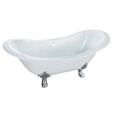 Aqua Eden VCTNDS6130NC1 61-Inch Cast Iron Double Slipper Clawfoot Tub (No Faucet Drillings), White/Polished Chrome