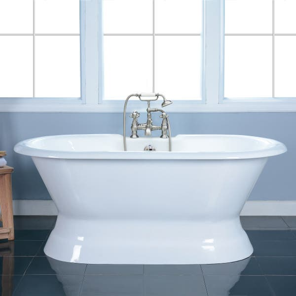 VCT7D603024 60 in. Cast Iron Pedestal Tub with 7 in. Faucet Drillings, White