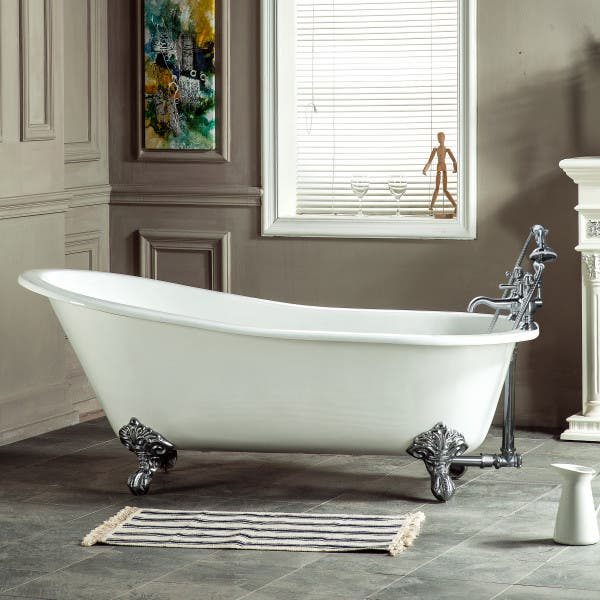 NHVCT7D653129B1 61-Inch Cast Iron Slipper Clawfoot Tub with 7-Inch Faucet Drillings and Feet, White/Polished Chrome