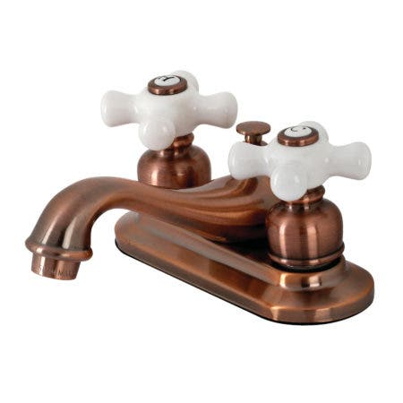 Kingston Brass KB606PX Restoration 4 in. Centerset Bathroom Faucet, Antique Copper