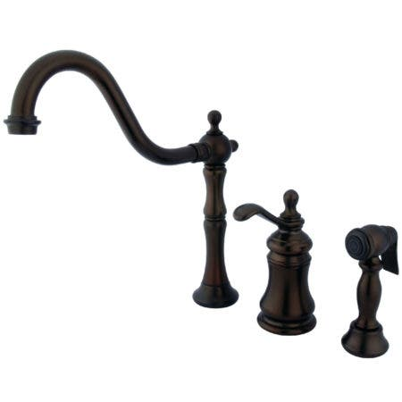 Kingston Brass KS7805TPLBS Templeton Single-Handle Widespread Kitchen Faucet with Brass Sprayer, Oil Rubbed Bronze