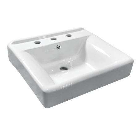 Fauceture EV2018W38 Concord Recessed Bathroom Sink, 8-Inch, 3-Hole, White