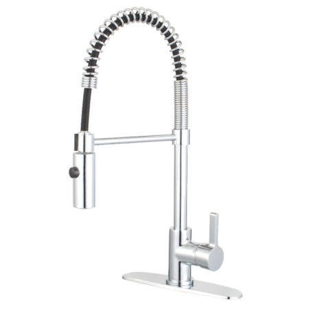 Gourmetier LS8771CTL Continental Single-Handle Pre-Rinse Spring Spout Kitchen Faucet, Polished Chrome